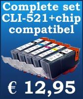Complete inktset vervangt de CLI-521 / PGI 520.