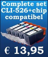 Complete inktset vervangt de CLI-526 / PGI 525