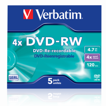 DVD-RW 4.7GB 4X Verbatim 5 stuks in jewelcase