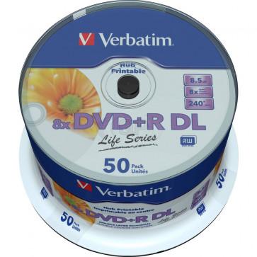 DVD+R 8.5GB 8X Verbatim double layer 50 stuks vol wit inktjet printable