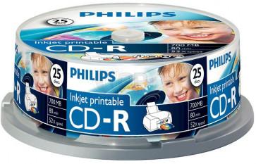CD-R 80min 52X Philips 25 stuks full wit inktjet printable