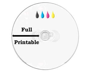 CD-R 100min 24X 25 stuks full wit inktjet printable