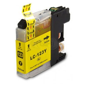 Brother LC-123Y inktcartridge geel + chip (huismerk)