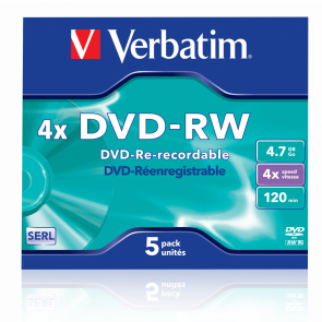 DVD-RW 4.7GB 4X Verbatim 5 stuks in jewelcase
