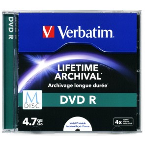 M-Disc DVD R 4.7GB 4X Verbatim full wit inktjet printable