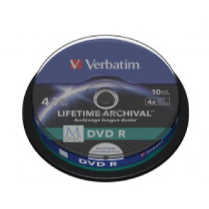 M-Disc DVD R 4.7GB 4X Verbatim full wit inktjet printable 10 stuks