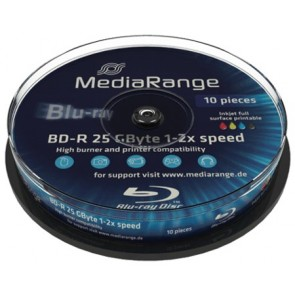 Blu-ray Disc 6X 25Gb recordable Mediarange 10 stuks wit inktjet printable