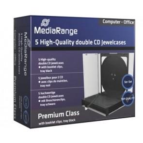 CD jewelcase 10,4mm zwart voor 2 cd's 5 stuks