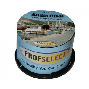 CD-R 80min AUDIO Profselect 50 stuks full wit inktjet printable