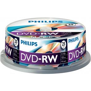 DVD-RW 4.7GB 4X Philips 25 stuks