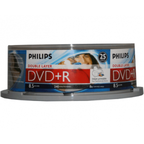 DVD+R 8.5GB 8X Philips double layer 25 stuks inktjet printable