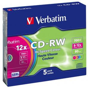 CD-RW 80 min 4X Verbatim 5 stuks in slimcase