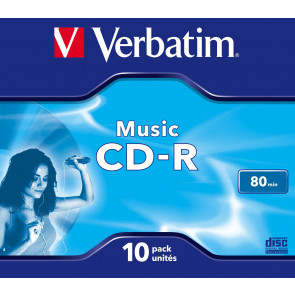 CD-R 80min AUDIO Verbatim 10 stuks full wit inktjet printable