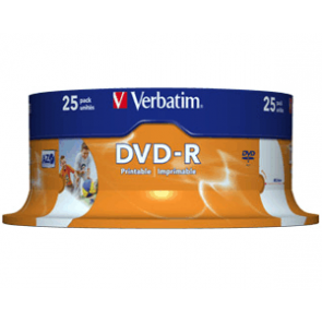 DVD-R 4.7GB 16X Verbatim 25 stuks full wit inktjet printable